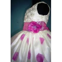 Vestido Para Niña Con Pétalos De Rosa Color Violeta