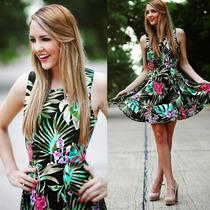 Vestido Verano Negro Con Flores Envio Gratis!!