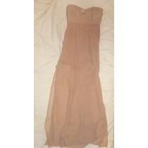 Vestido Noche Dorado Cobre Largo Straple Limpia Closet
