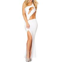 Moda Sexy Vestido Blanco Largo Aberturas Y Escote Al Frente