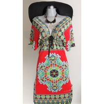Vestido Lycra De Seda Estampa Arabezco Escote V