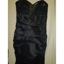 Vestido De Fiesta Largo En Color Negro Con Lentejuelas