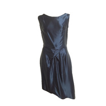 Vestido Coctel Azul Crepe Satinado