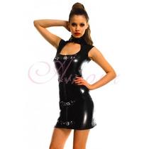 Moda Sexy Vestido De Vinyl Brilloso Con Cierre Y Hebillas