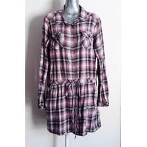Vestido Invierno Camisa Larga Franela Gris Rosa Cuadros L G