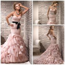 Hermoso Vestido De Novia Rosa Boda De Organza Elegante