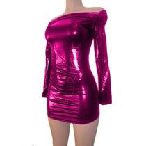 Vestido Metalico F-74258 Rosa Todas Las Tallas