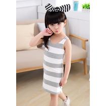 Bonito Vestido Rayado Para Niña Promocion Moda Asiatica