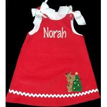 Vestido Bordado Para Navidad Talla De 0 A 6 Años