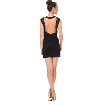Vestido Coctel Negro Corto Encaje Espalda Escote T9