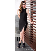 Vestido Corto Asimetrico Negro Con Oro Moda Urbana 902042