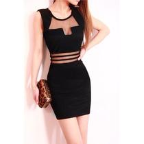 Sexy Vestido Negro Transparencias Frente Cintura Y Espalda