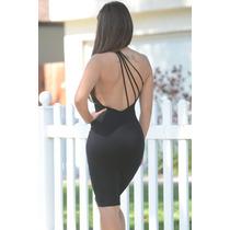 Moda Sexy Vestido Negro Asimetrico Espalda Desnuda Fiesta