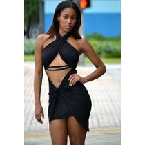 Sexi Vestido Negro Moda Halter Cruzado Espalda Desnuda