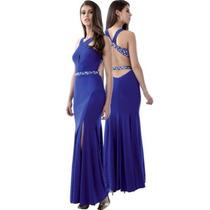 Vestido De Noche Mod 7952 Fucsia Lycra Sirena (velvet)
