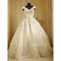 Hermoso Vestido De Novia Corte Princesa Organza Encaje