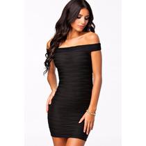 Moda Sexy Vestido Strapless Negro Fiesta Hombros Desnudos