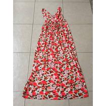 Maxi Dress Flores Estampado Neon Naranja Estilo Guess Escote