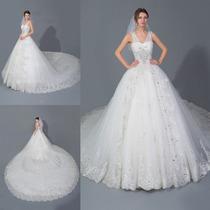 Vestido De Novia Boda Cola Larga Elegante Hermoso Princesa