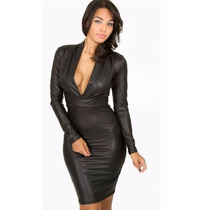 Vestido Sexy Negro Piel Sintetica Envio Gratis