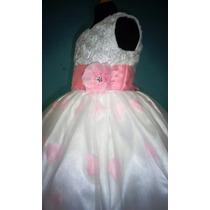 Vestido Para Niña Con Pétalos De Rosa Color Rosa Claro