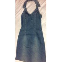 Vestido Mezclilla Casual Cuello Halter, Retro Vintage