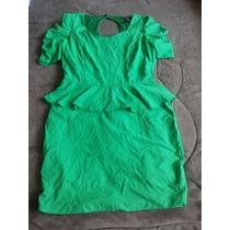 Vestido Bannana Republic Verde Esmeralfs Peplum