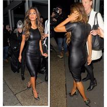 Vestido Negro Imitación Piel Wet Look Talla Extra Grande Xl