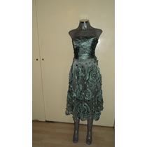 Elegante Vestido De Noche Strapless Color Aqua