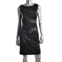 Vestido Negro Con Aplicaciones De Piel Talla Grande 12 Ame