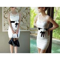 Moda Sexy Mini Vestido Blanco Con Moño Y Transparencias