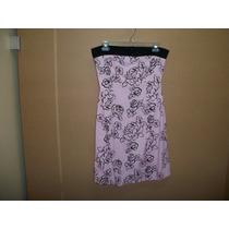 Vestido Corto Strapless Etiquetado Rue 21 L-36 Rosa C/negro
