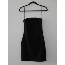 Vestido H & M Negro Talla 6 Strapless Bordado Graduacion