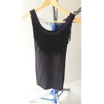 Vestido Negro Unitalla Con Tiras Adelante Ajustado Al Cuerpo