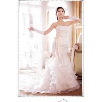 Vestido De Novia Sirena Talla 32-34 Blanco Strapless Hermoso