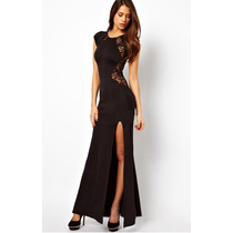 Moda Sexy Vestido Negro Largo Con Transparencias De Encaje