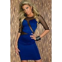 Moda Fiesta Sexy Mini Vestido Azul Con Transparencias