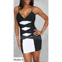 Sexy Mini Vestido Negro Con Blanco Hm4