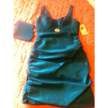 Hermoso Vestido De Fiesta Color Azul, Broche, Tirantes, L