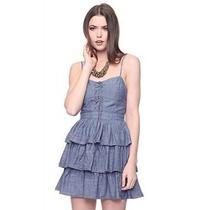 Hermoso Vestido Casual Con Olanes Mezclilla Inc S