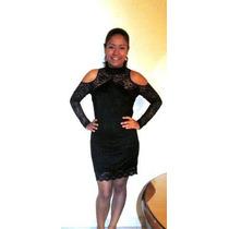 Vestido Negro Encaje, Sin Hombros, Escote Espalda, Talla M-l