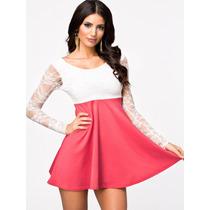Vestido Sexy Blusa Encaje Blanco-escote Espalda 032-r