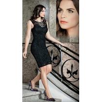 Elegante Vestido De Fiesta Corto Negro Con Encaje