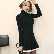 Vestido Casual Lindo Corto Con Manga Larga Juvenil 2378