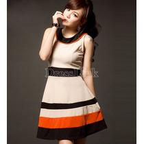 Moda Sexy Mini Vestido Falda Amplia Lineas De Colores
