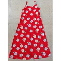 Vestido Color Rojo Con Flores Talla 10 Chica