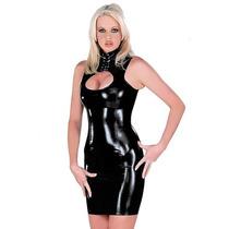 Moda Sexy Vestido De Vinyl Negro Brilloso Abertura En Busto