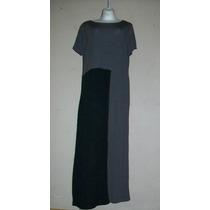J.jill!!! Original Vestido Gris Con Negro, Checa Diseño, T-l