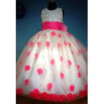 Vestido Para Niña Con Pétalos De Rosa Color Rosa Mexicano