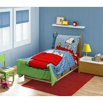 Peanuts Snoopy En La Cama Casa Toddler Set Azul